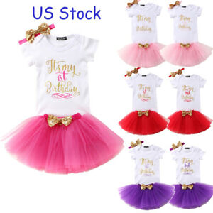 79acf404c US Stock Baby Girl Birthday Dress Rompers Tutu Skirt Headband Outfit ...
