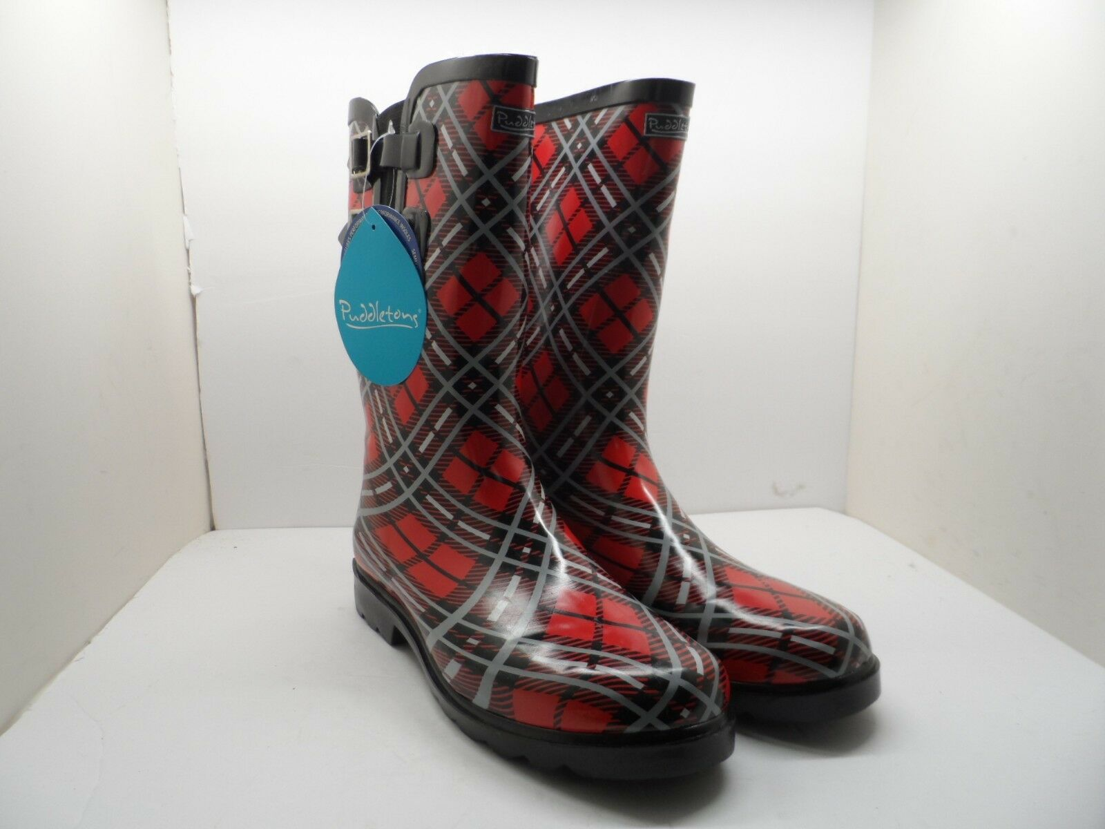 Puddletons Women's Cozy Classic Double Strap Rain Boots PCD02P Red Size 10M