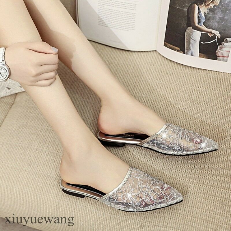 Womens Pointy toe Flats Mesh Clear Breathable Fashion Slippers Shoes Size 4.5-8