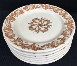Shenango-Vintage-Restaurant-Ware-Set-Of-6-Plates-7-1-8-Brown-Leaf-Scroll-USA