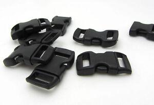 12pcs-3-8-034-Curved-Side-Release-Plastic-Buckle-for-Paracord-Bracelet-Black