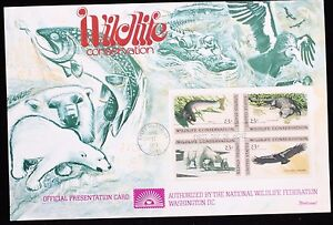 1971-FDC-Fleetwood-Wildlife-Conservation-Plate-Block-1427-30-Presentation-Card