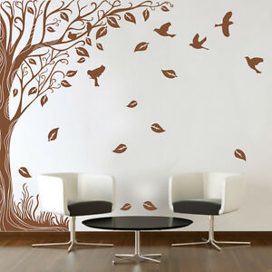 Large Wall Side Tree Birds Art Vinyl Wall Sticker DIY Wall