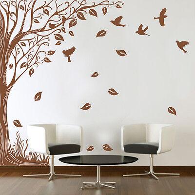 Large Wall Side Tree Birds Art Vinyl Wall Sticker Diy Wall Decal High Quality Ebay
