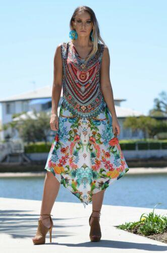 Heavily Embellished Silk Satin Sleeveless Kaftan summer Dress