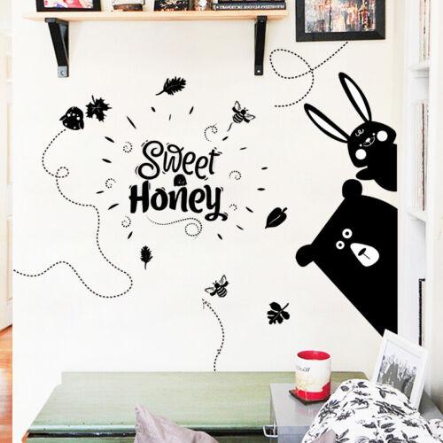 Sweet Honey Cute Black Peeking Bear Rabbit Kids Room Wall Stickers Art DIY Mural