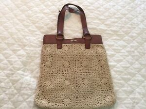 Lucky-Brand-Penny-Lane-Handbag-Purse-Crochet-Leather-Tote
