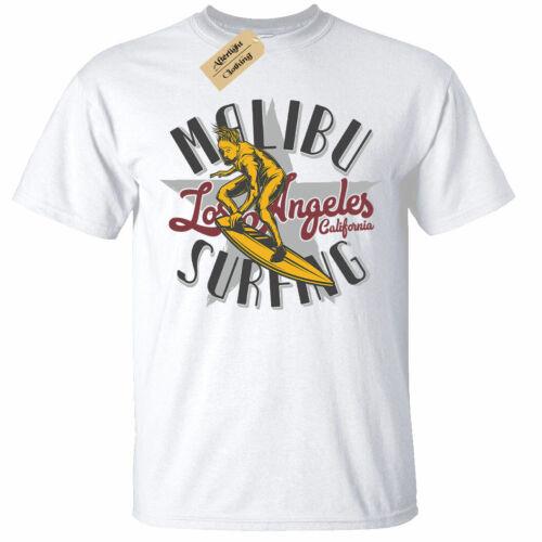 Malibu Surfing T-Shirt Mens surfers surf top tee white