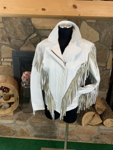 Reeds Vintage Leather Jacket White Fringe Western
