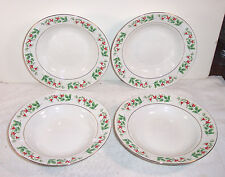 """4 Gibson China Christmas Charm Holly 8"""" Soup / Cereal Bowl"""