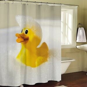 Image Is Loading 78 034 Yellow Rubber Duck Bathroom Fabric Shower