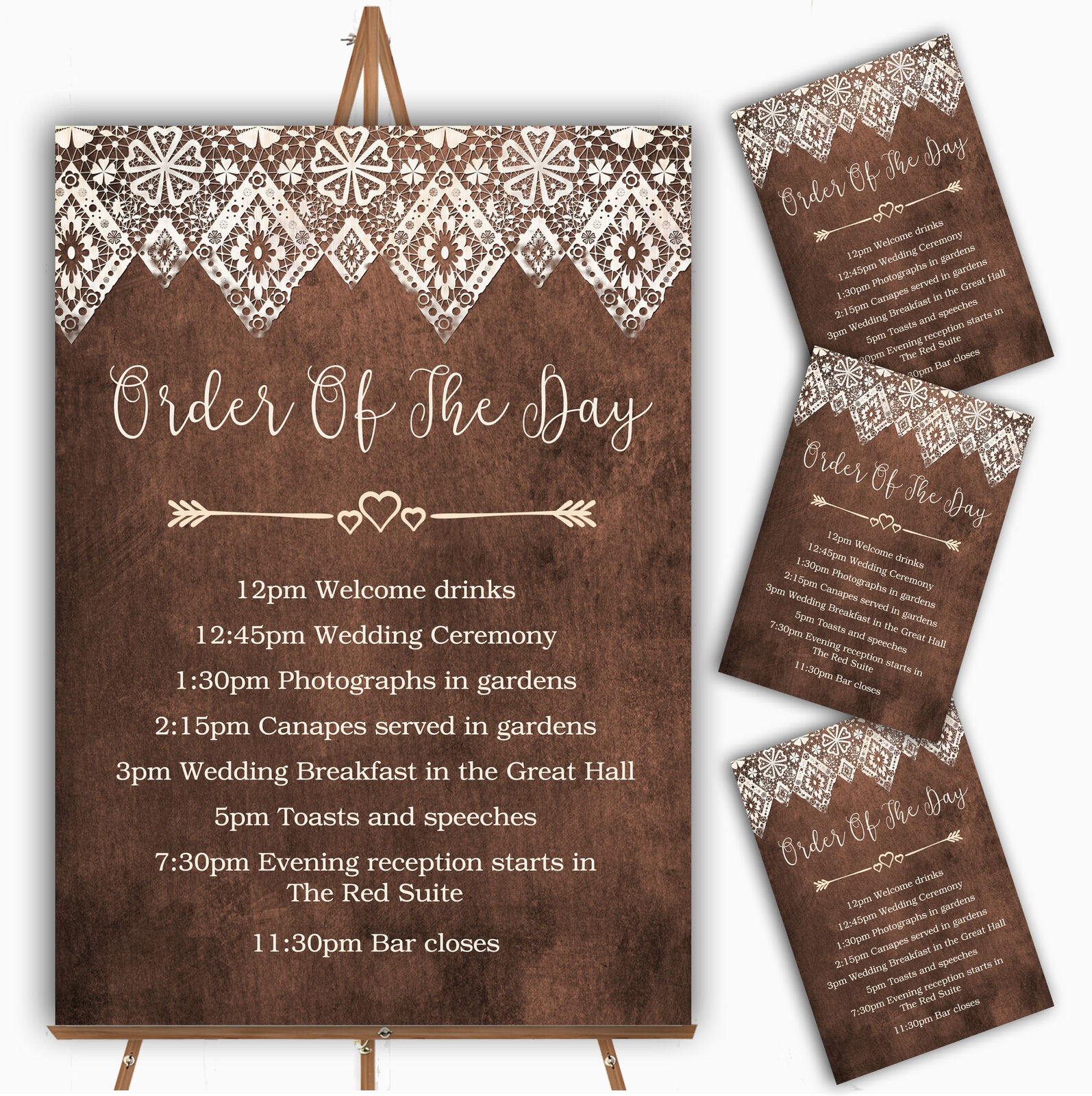 Vintage braun Old Paper & Vintage Lace Effect Wedding Order Of The Day Cards