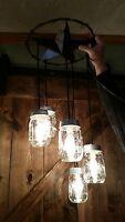 Mason Jar Light Fixture Chandelier Metal Star 5 Jars