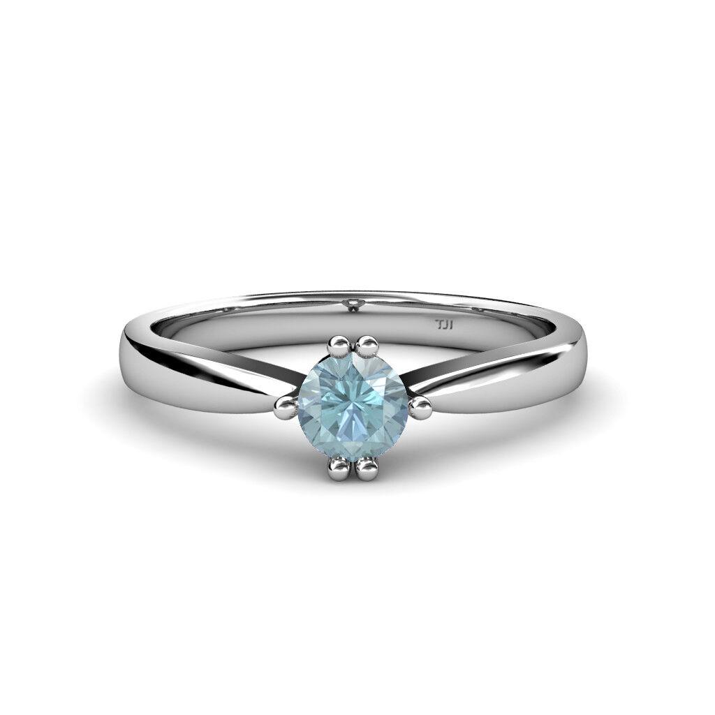 Round Aquamarine Six Prong Women Solitaire Engagement Ring 14K gold JP 79843