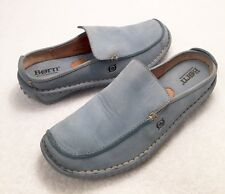 Women's Size 7.5 M/W BORN Light Baby Blue Leather Slip-On Mules Style Shoes
