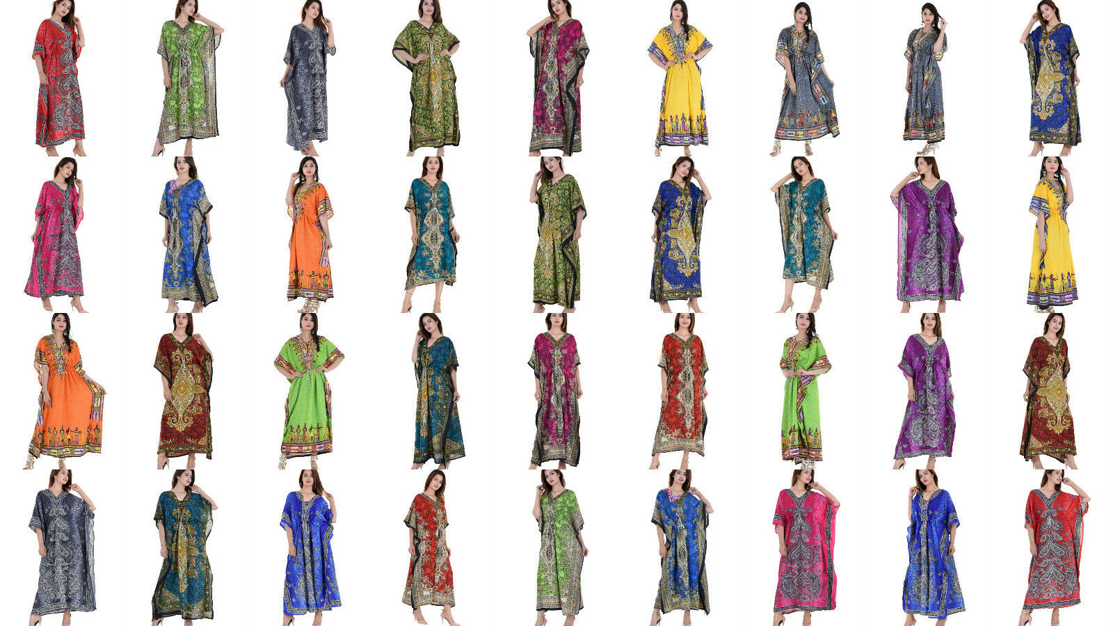 WHOLESALE LOT 100 PC Assorted EVENING-DRESS ETHNIC-LONG-Tunic Boho WOMEN KAFTAN