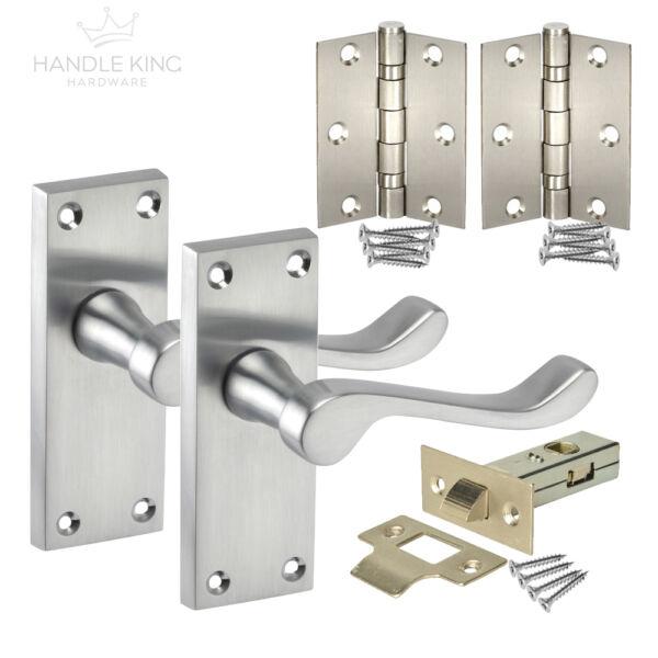 Latch Door Pack Hinges and Latch Door Handle Set Chrome Door Handles Pack