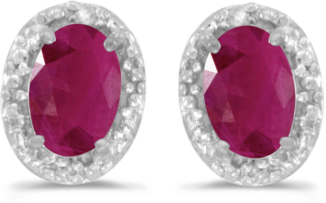 14k White gold Oval Ruby And Diamond Earrings (CM-E2615XW-07)