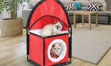 2 Tier Cat Tower Condo Play House Soft Fleece Mesh Wall Portable