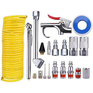 Air-Compressor-Accessory-Kit-1-4-034-NPT-Air-Tool-Kit-W-1-4-034-x25Ft-Nylon-Hose-20-PCS