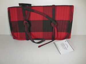 Pottery Barn Quilted Red Black Buffalo Check Jewelry Roll