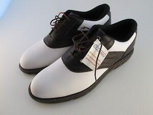 Reebok-Flex-Zone-Mens-12-Saddle-White-Brown-Golf-Shoes-NWOB