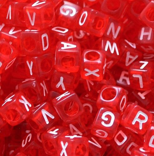 500pcs cube red alphabet// letter acrylic beads 6mm