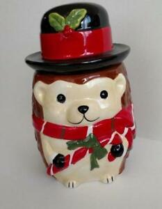 Hedgehog Holding Candy Cane Winter Hat Scarf Christmas Holiday Cookie Treat Jar