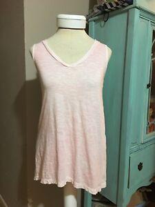 J. Jill Cotton Sun Bleached Slub Tank Shirt Size XS X-small Pink