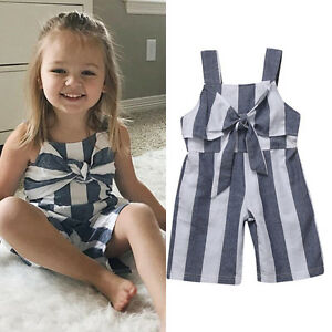 14a80c1e0ca6 UK Toddler Kid Baby Girls Jumpsuit Romper Bodysuit Clothes Outfits ...
