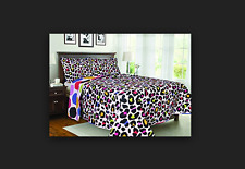 BALTIC LINEN Colorful Animal Print Leopard Soft And Cozy Quilt Set, Full/Queen