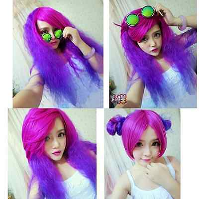 Womens Curly Wavy Full Long Wigs Purple Mix Lolita Hair Anime Cosplay Party Wig
