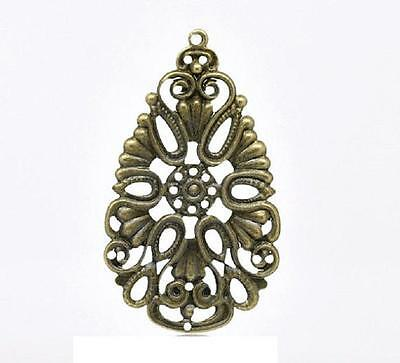 12pc antique bronze metal 49x27mm filigree pendant-8187