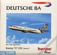 Herpa 500579 Deutche Ba Airlines Boeing 737-300 Bavaria 1:500 Scale Retired