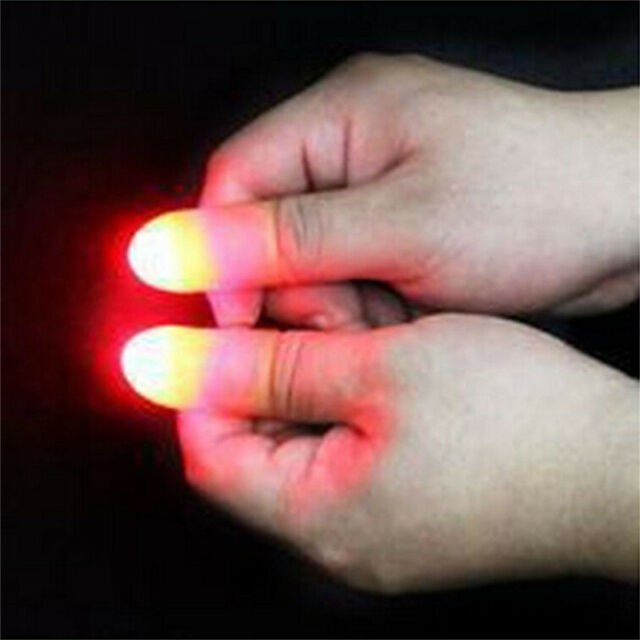 2x Magic Super Bright Light Up Thumbs Fingers Trick Appearing Light Close Up *CP