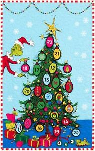 The Grinch Christmas.Details About Grinchmas Advent Calendar Fabric Panel How The Grinch Stole Christmas Dr Seuss