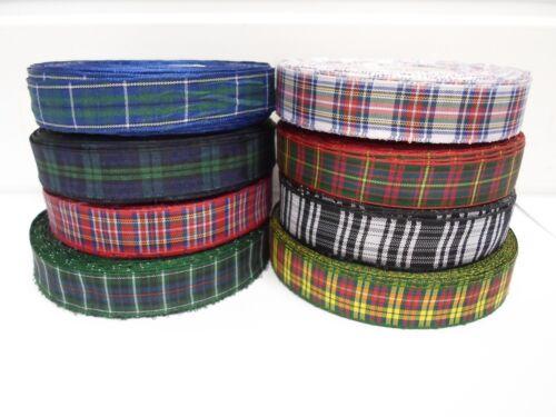2 metres or 25 metres 10mm Tartan Ribbon double sided Scottish Roll UK VAT Reg