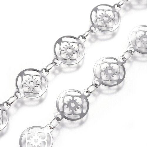 10.9yds 304 Stainless Steel Filigree Flower Link Chains Soldered Loop String 8mm