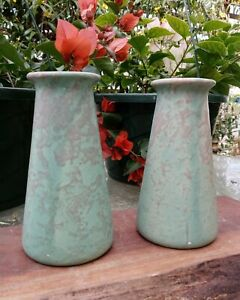 REDUCED! Vintage Brush Pottery Matte Green Vellum Arts & Crafts Bud Vases EXC