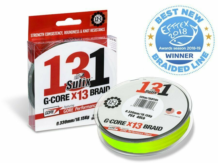 Sufix 131 G-Core Braid Neon Chartreuse 300m Braided line  NEW 2019  official website