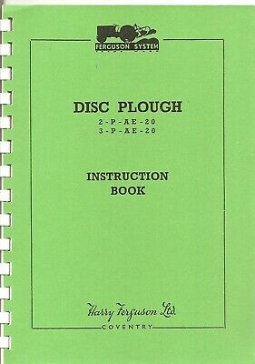 Ferguson Disc Plough Instruction Book ................................ Manual Other