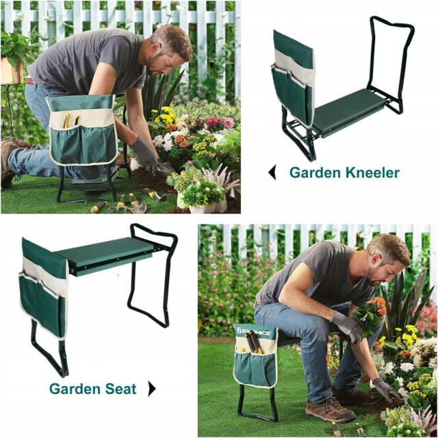 Garden Kneeler Seat Foldable Soft Kneeling Pad Bench Portable Stool w Tool Pouch
