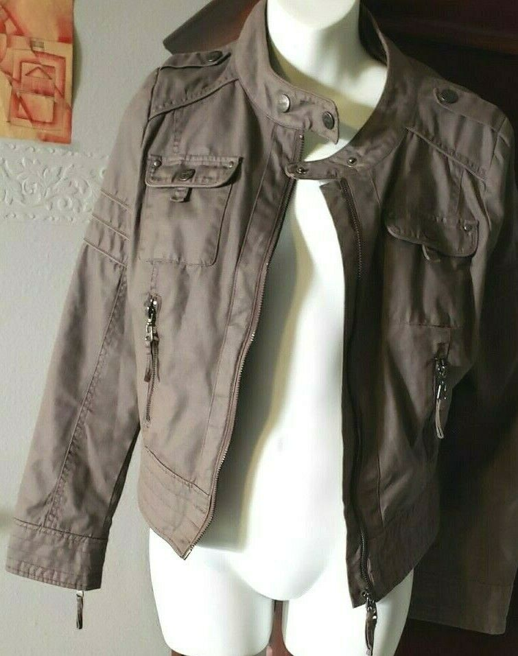 Women's Blanc Noir Moto Jacket Tanish Brown, Size Medium