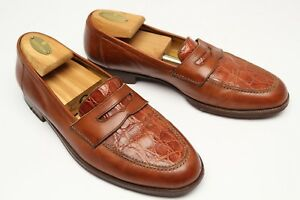 69e1bf9f6b5 Cole Haan Penny Loafers 8.5 D Brown Leather Crocodile Vamp Made in ...
