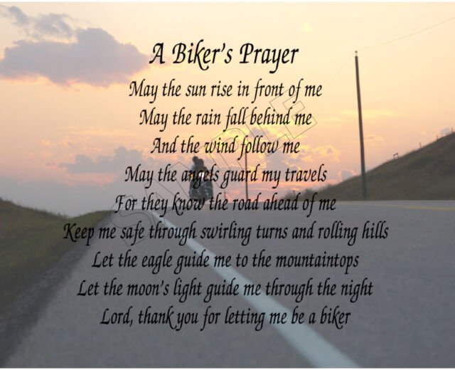 BIKER'S PRAYER PERSONALIZED ART POEM MEMORY BIRTHDAY GIFT