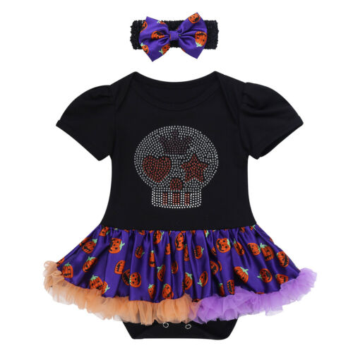 Newborn Infant Baby Girls 1ST Halloween Romper Tutu Dress Pumpkin Outfit Costume