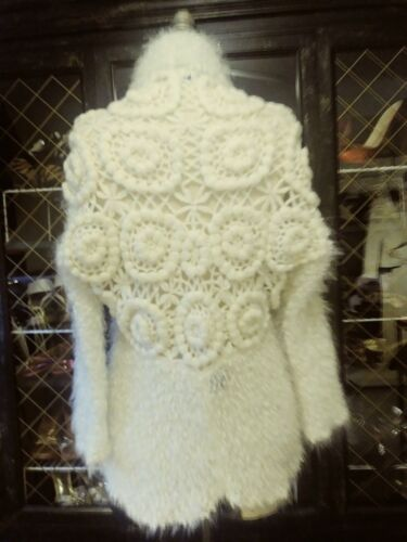 Sweater Fuzzy Strik Fur Størrelse Faux Slonel Jakke S Super Unik M Creme Blød Farve UE1qtww