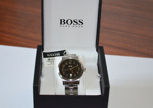 New-Hugo-Boss-Black-Round-Dial-Stainless-Steel-Case-Men-039-s-Watch-HB1512180