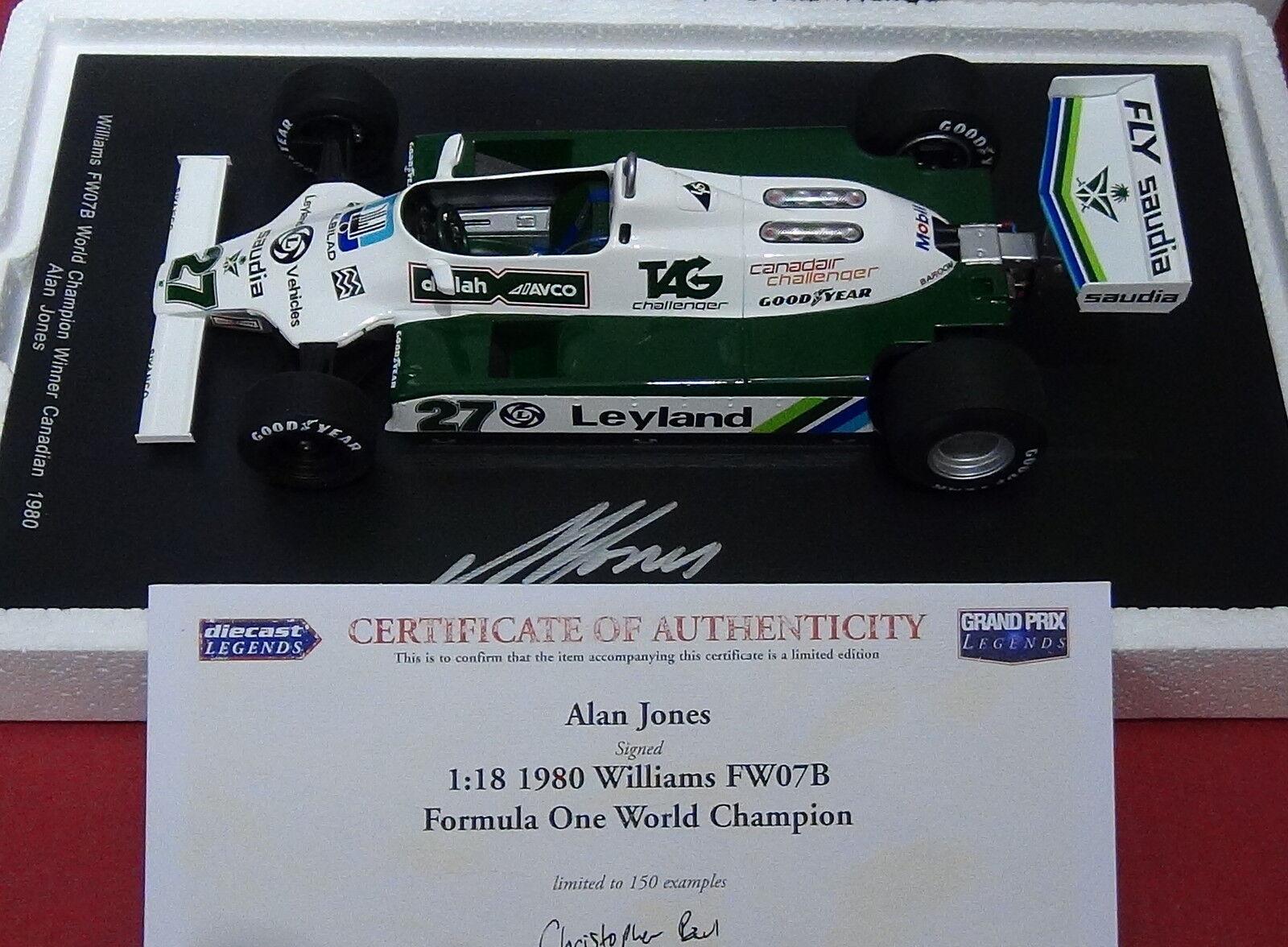 1:18 SPARK Williams FW07B ALAN JONES World Champ 1980-18S117 * firmato con certificato di autenticità *