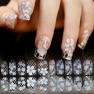 Beautiful 3D Lace Crystal Nail Art Tips Sticker Decal Full Wraps DIY Decorations